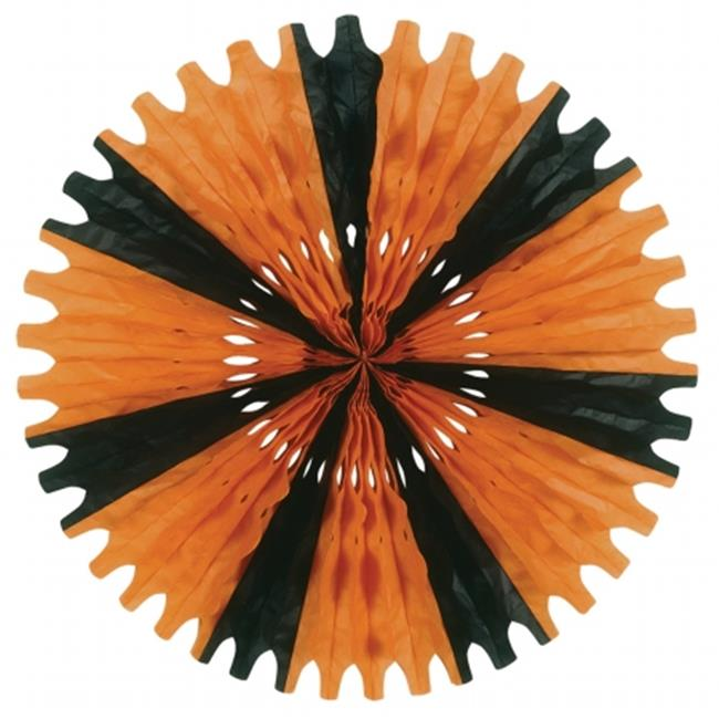 Beistle Company 55293-OB Tissue Fan - Orange & Black