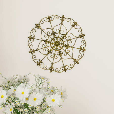 Medallion Metal Wall Art- 16 Inch Fleur De Lis Round Metal Home Decor, Hand Crafted with Distressed Finish- Mounting Screws Included by Lavish Home
