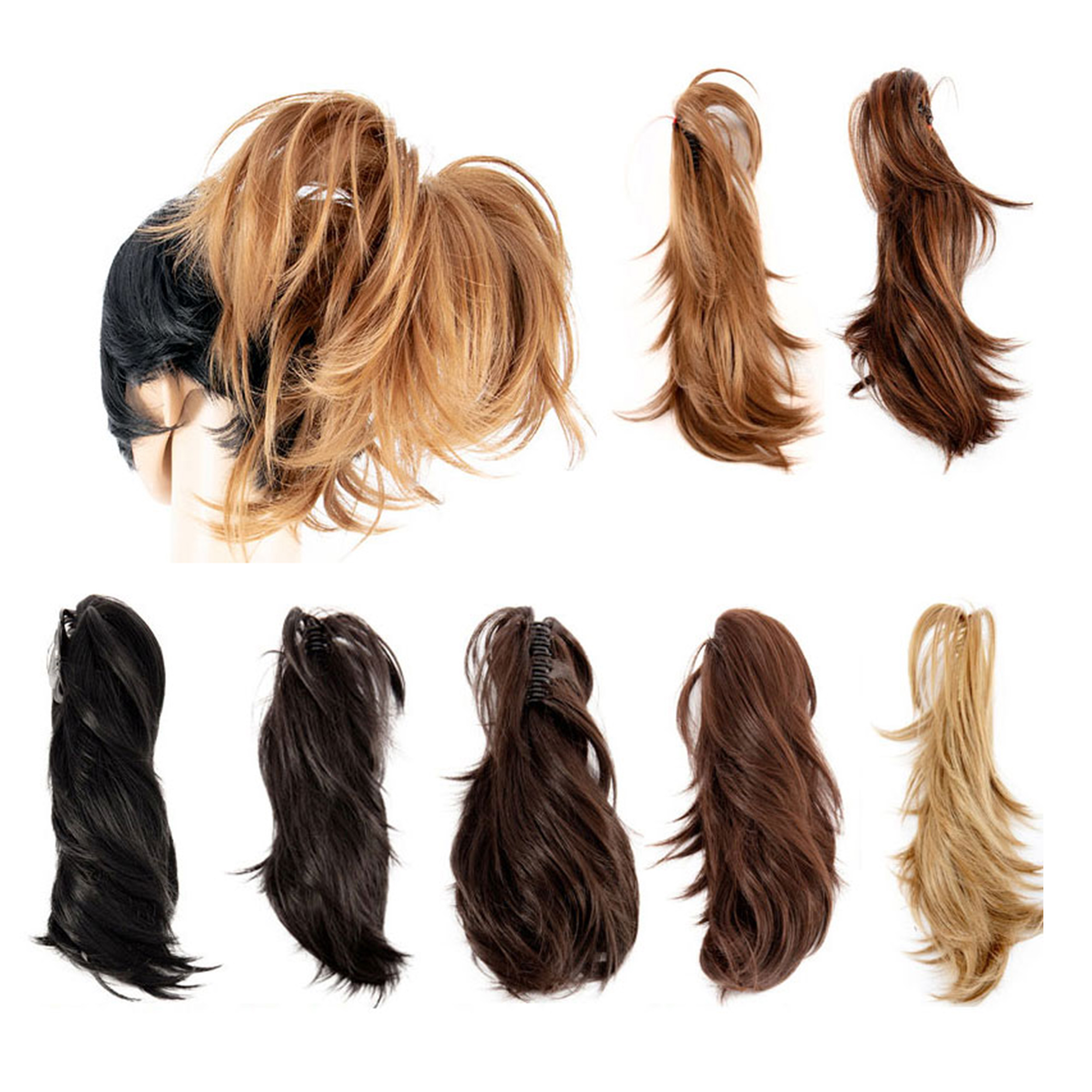 14 Inch Adjustable Messy Style Ponytail Hair Extension with Jaw Claw Synthetic Hair-Piece