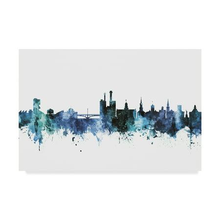 Trademark Fine Art 'Iowa City Iowa Blue Teal Skyline' Canvas Art by Michael - Party City Iowa City