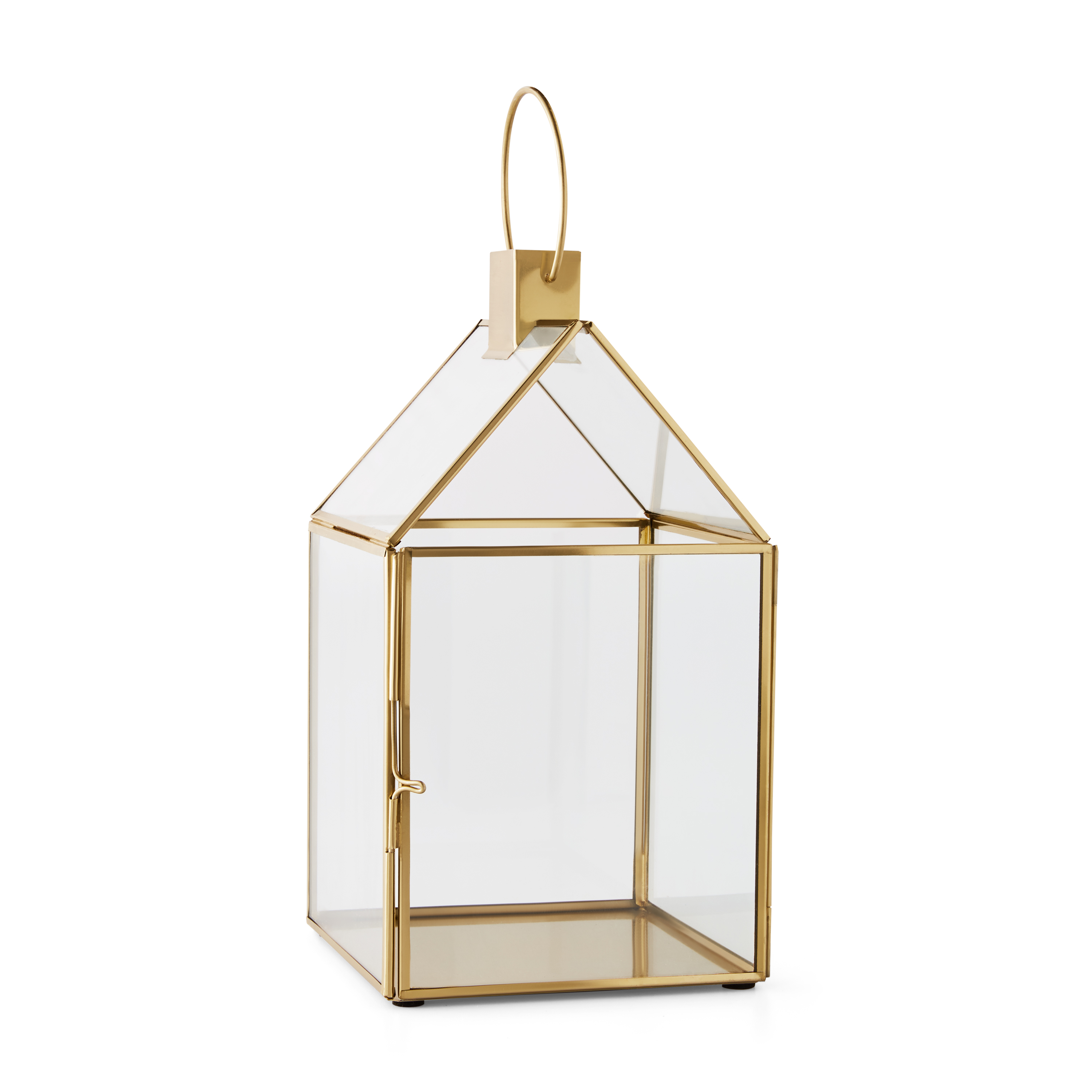 "Mainstays 11"" Glass and Plated Metal House Lantern with Handle"