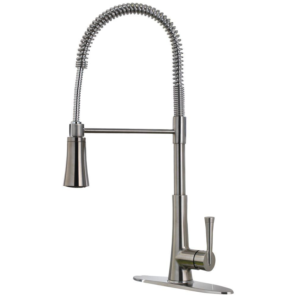 Pfister Zuri Pullout Spray Single Hole Single Kitchen Faucet LG529MCS Stainless Steel by