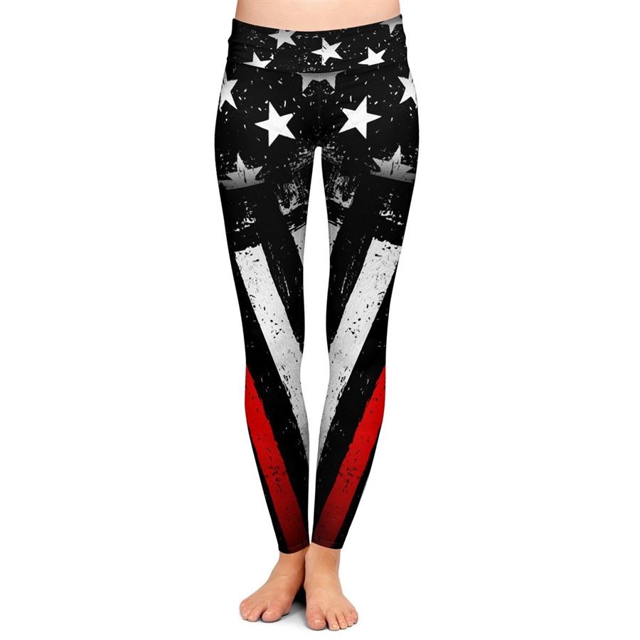 Womens Thin Red Line Firefighter Flag Yoga Shorts Workout Running Capri Leggings Pants Hot Shorts