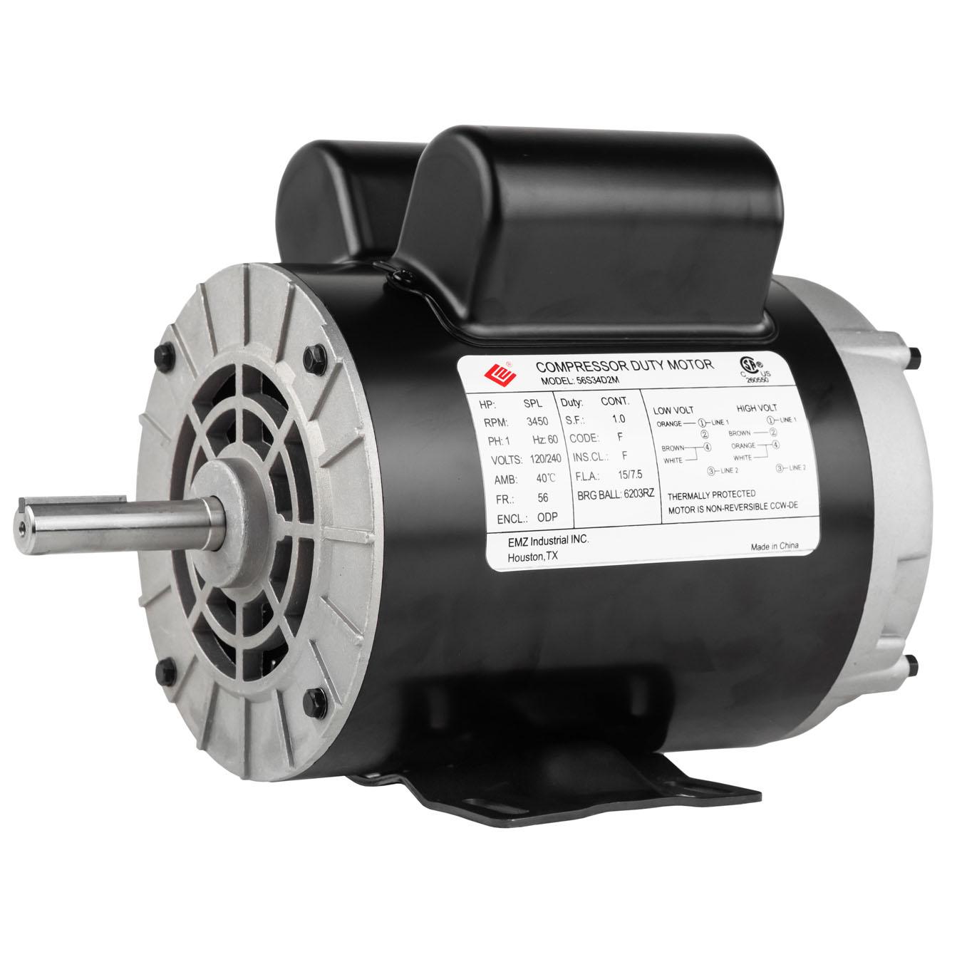 "New2 HP SPL Compressor Duty Electric Motor 3450 RPM 56Frame 5//8/"" Shaft 115//230V~"