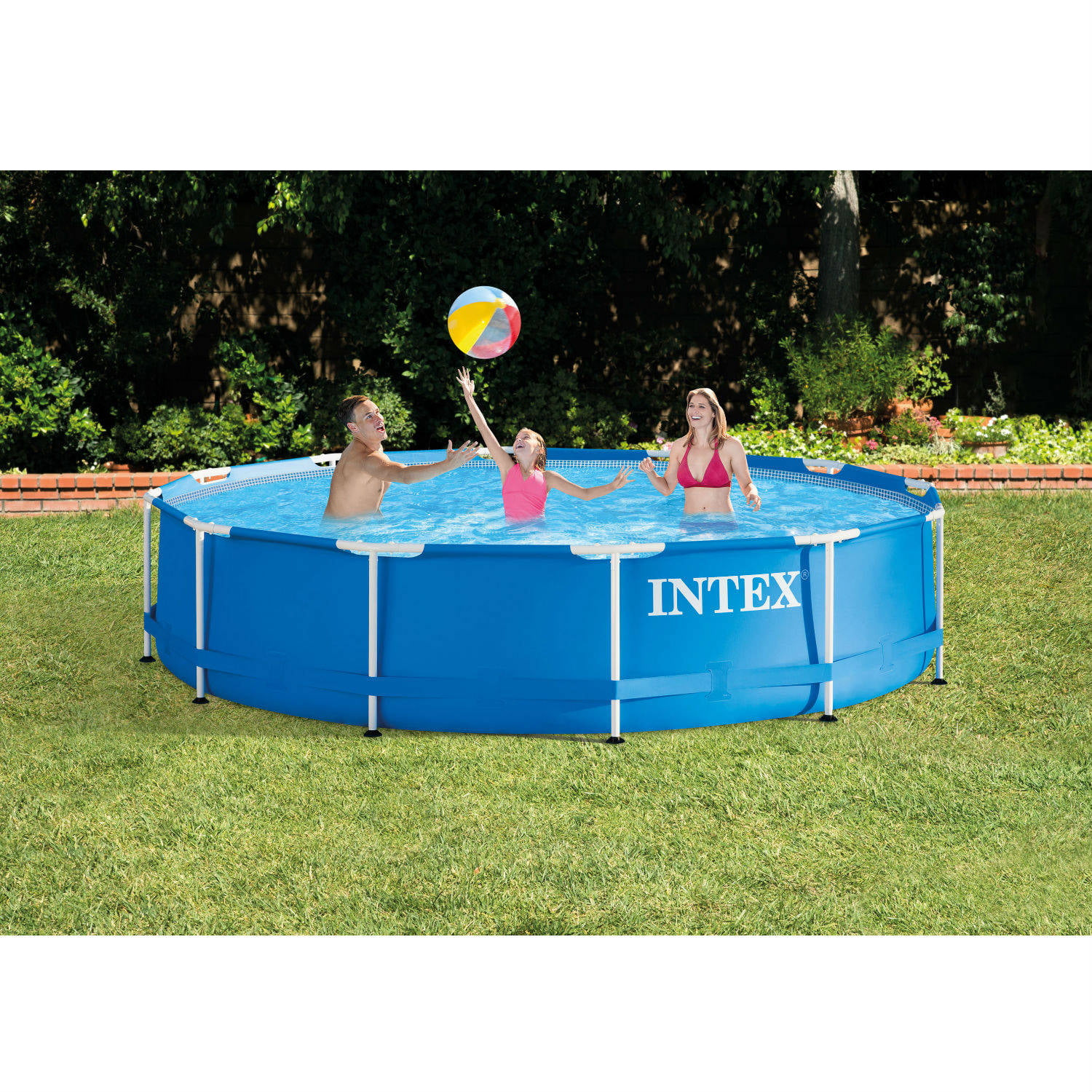 Intex 12' x 30'' Metal Frame Above Ground Swimming Pool with Filter Pump by Intex