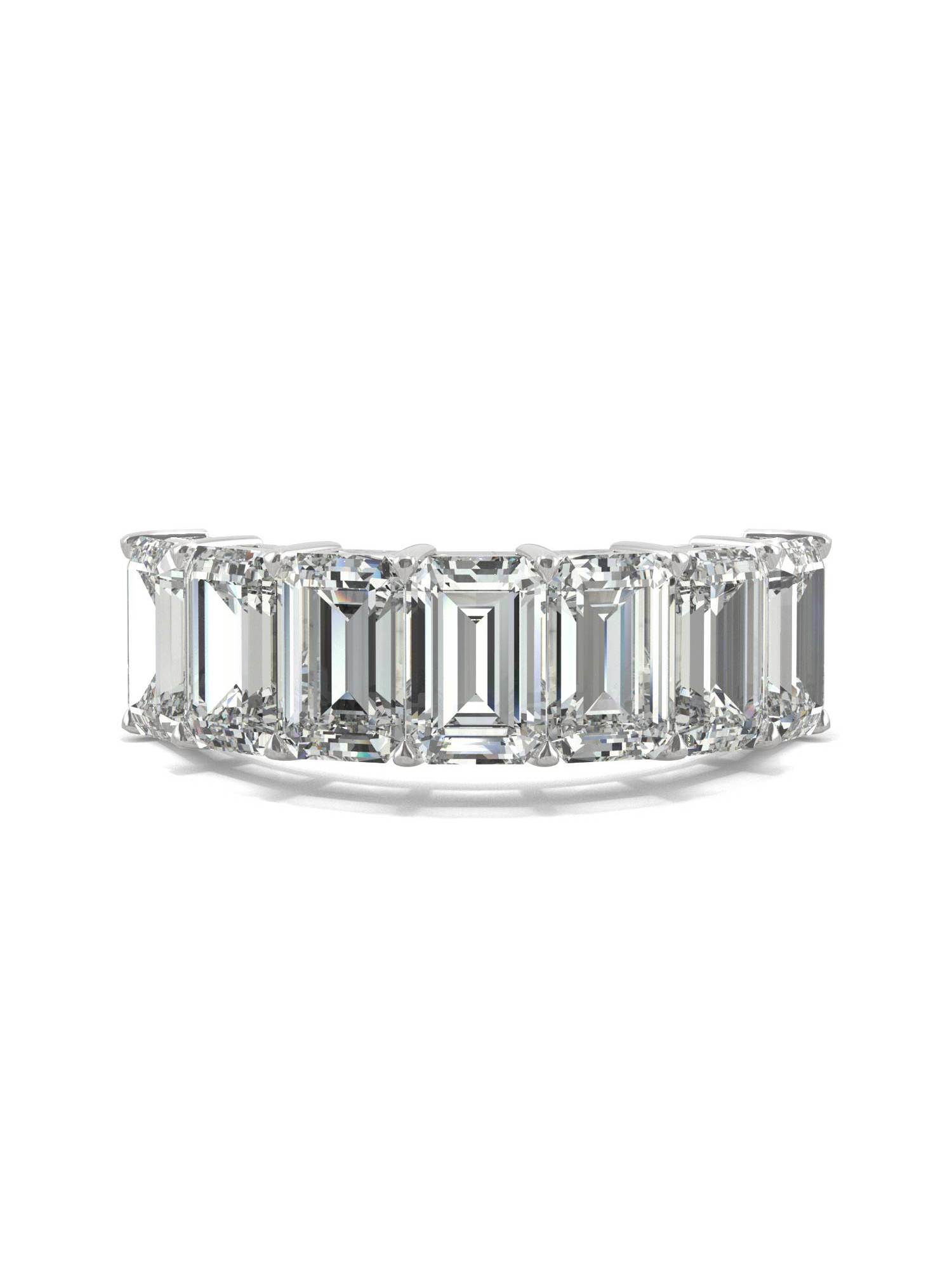 4.06cttw DEW 14K White Gold Moissanite by Charles /& Colvard 6x4mm Emerald Wedding Band