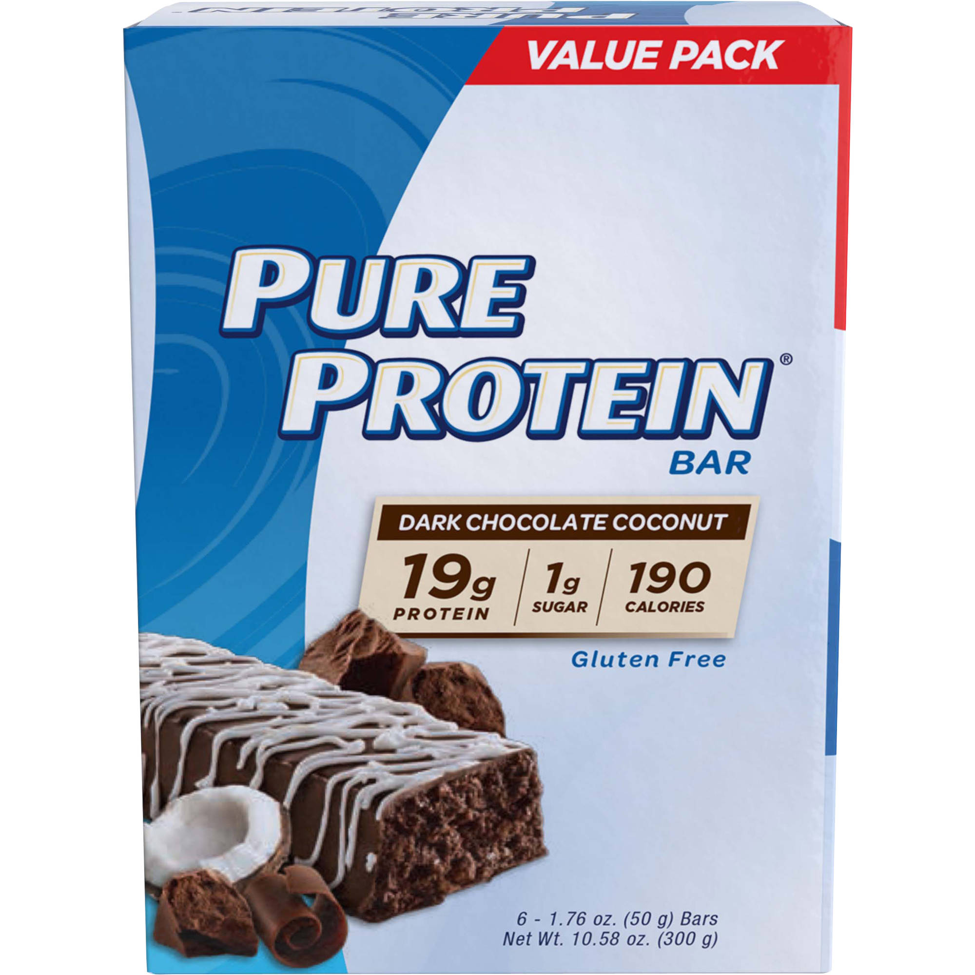 Pure Protein Dark Chocolate Coconut Protein Bars, 1.76 oz, 6 count