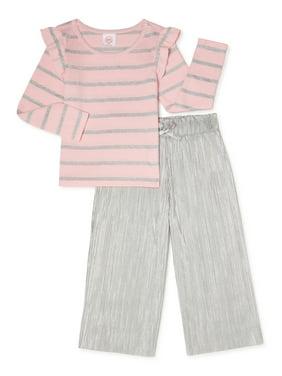 BluNight Collection Little Girl Kids Doughnut Print Outfits Capris Ruffles Spring Cotton Pants 2T-8