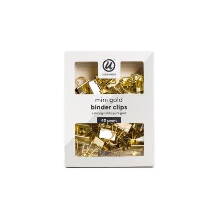 U Brands Binder Clips, Mini, Gold, 40 Count (Itech Mini Clip)