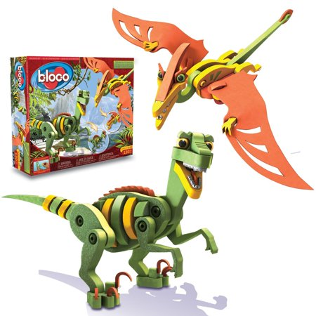 Velociraptor and Pterosaur, 167 high-density foam and plastic connectors By  Bloco Toys inc From USA