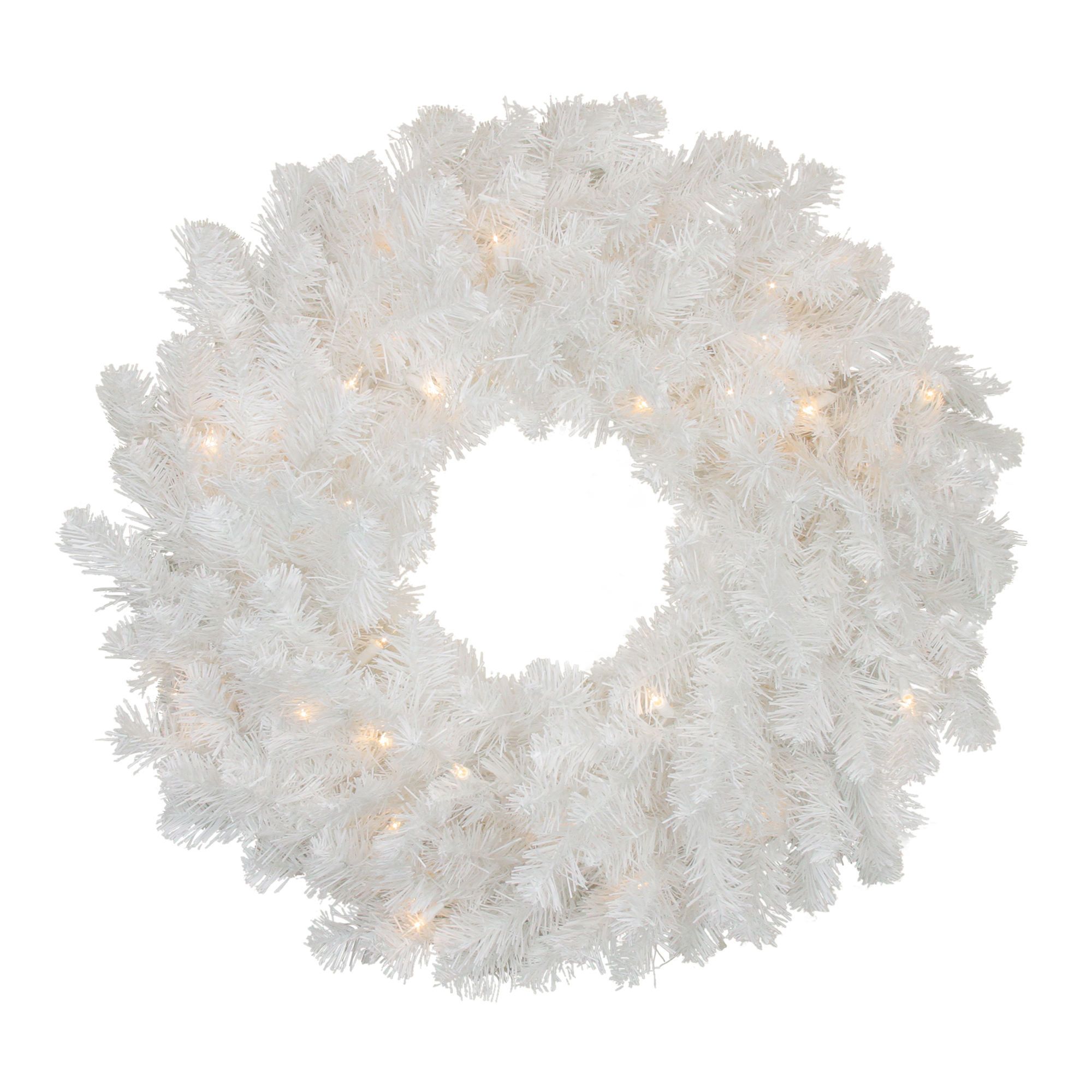 """24"""" Pre-Lit Snow White Artificial Christmas Wreath - Clear Lights"""