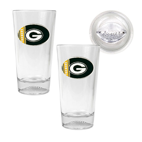 NFL - Green Bay Packers 2pc. Football Pint Ale Glass Set