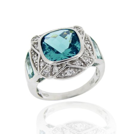 Sterling Silver 6.25ct Caribbean Mist CZ Square Fashion Ring