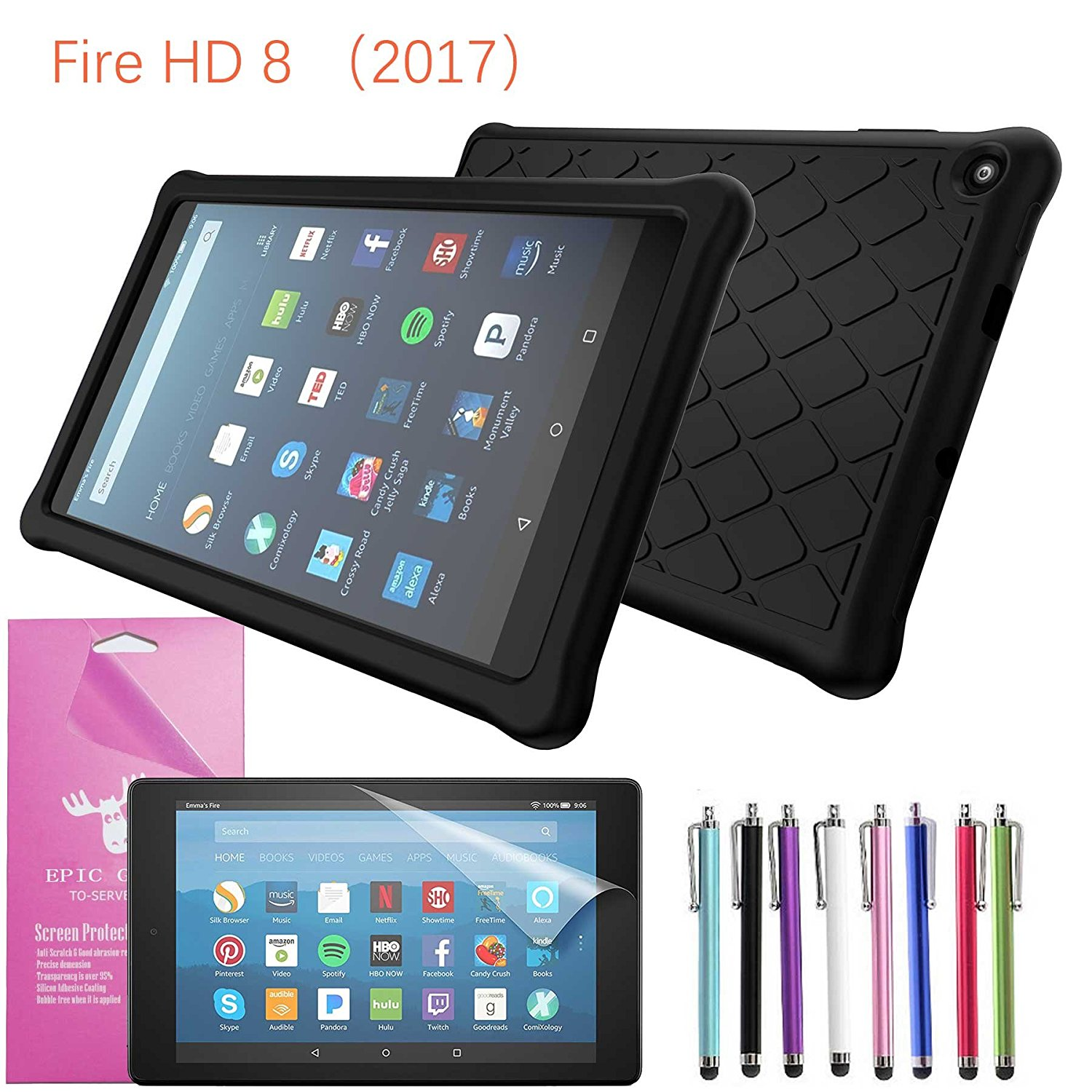 "2017 Amazon Fire HD 8 Case Silicone, EpicGadget Slim Anti-Slip Soft Rubber Silicone Gel Case Cover For (7th Generation) Fire HD 8, 8"" HD Display Tablet + Screen Protector (Black)"