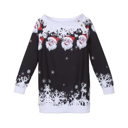 Women Winter Off Shoulder Long Sleeve Jumper Sweater Top Bodycon Christmas Costume For Happy