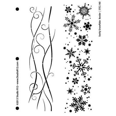 Print Border Stencil (Snowflake Border Stencil by StudioR12 | Swirly Winter Art Effects - Medium 7.625 x 10-inch Reusable Mylar Template | Painting, Chalk, Mixed Media | Use for Wall Art, DIY Home Decor - STCL160_1 )