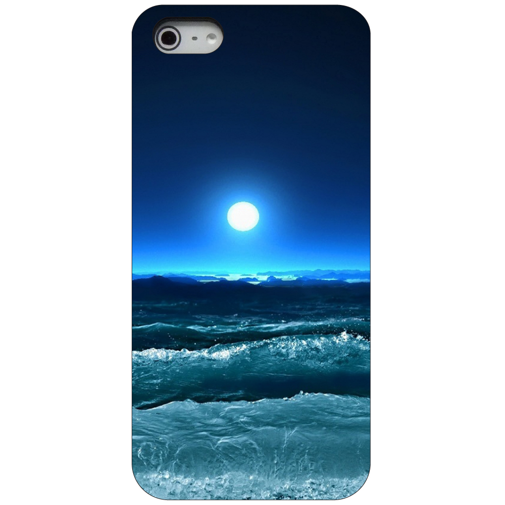 CUSTOM Black Hard Plastic Snap-On Case for Apple iPhone 5 / 5S / SE - Moonlit Ocean Waves