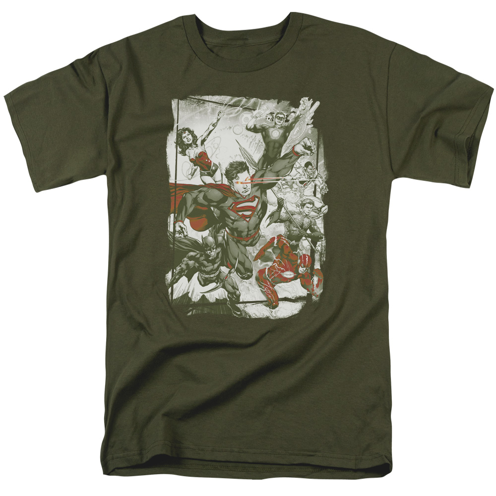 JLA/GREEN AND RED-S/S ADULT 18/1-MILITARY GREEN-SM