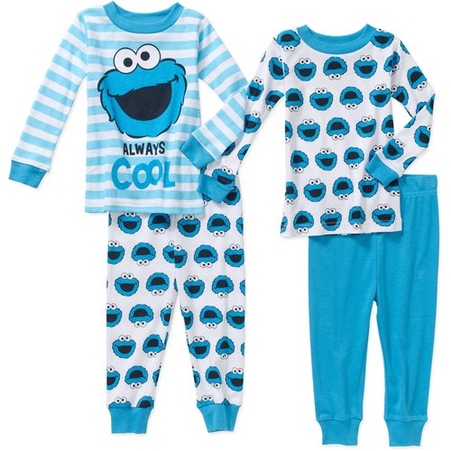Cookie Monster Newborn Baby Boy Cotton Tight Fit Pajamas 4pc Set