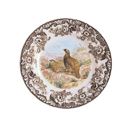 Woodland Red Grouse Salad Plate, Woodland pattern dates back to 1828 and is produced on the Regimental Oak shape. By Spode