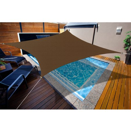 Alion Home HDPE Square Dark Brown Sun Shade Sail Permeable Canopy For Patio Pool Deck Porch Garden 15' x 15' ()