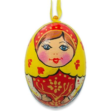 Russian Nesting Doll Matryoshka Wooden Egg Ornament 3 Inches (Russian Nesting Egg)