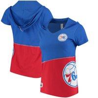 Philadelphia 76ers Refried Tees Women's Hoodie V-Neck Top - Royal/Red