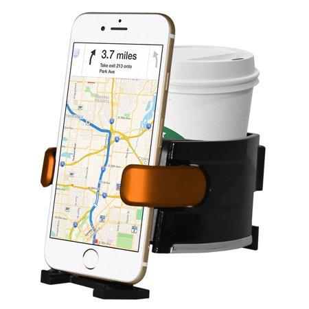 Car Cup Holder, Premium Adjustable 2 in 1 Car Drink Beverage Cup Bottle Stand Cell Phone Holder Air Vent Mount for Vehicle Automobile - Black/ Orange, 3 Different Size Vent Clips, Stabilizing Arm (Clip Drink Holder)