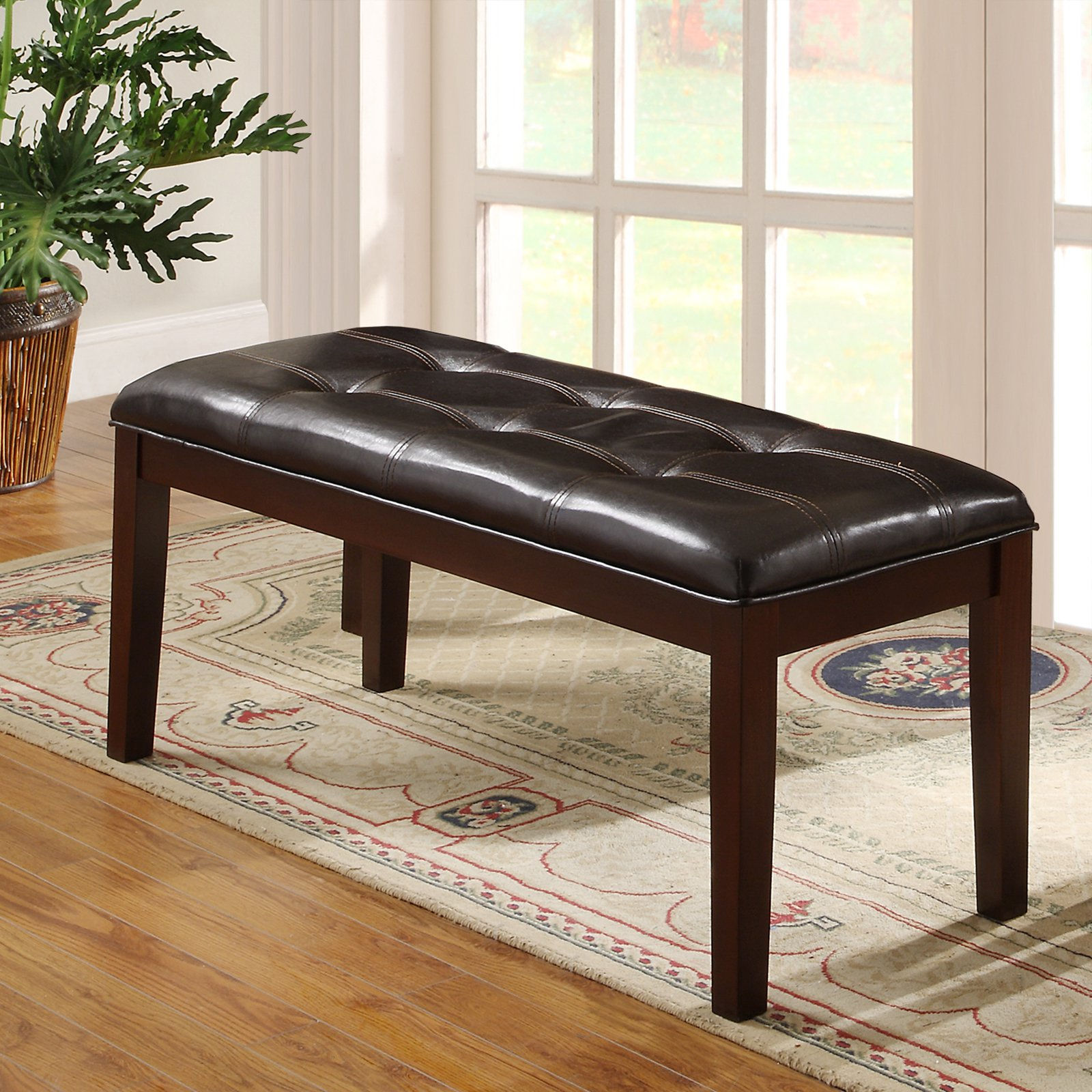 "Weston Home 49""W Tufted Bench, Espresso"