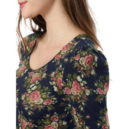 Unique Bargains Women Floral Prints 3/4 Sleeves Casual Peplum Top Navy Blue XS - image 3 de 7