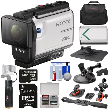 Sony Action Cam FDR-X3000 Wi-Fi GPS 4K HD Video Camera Camcorder with Action Mounts + 64GB Card + Battery + 6000mAh Hand Grip + Case + Kit ()