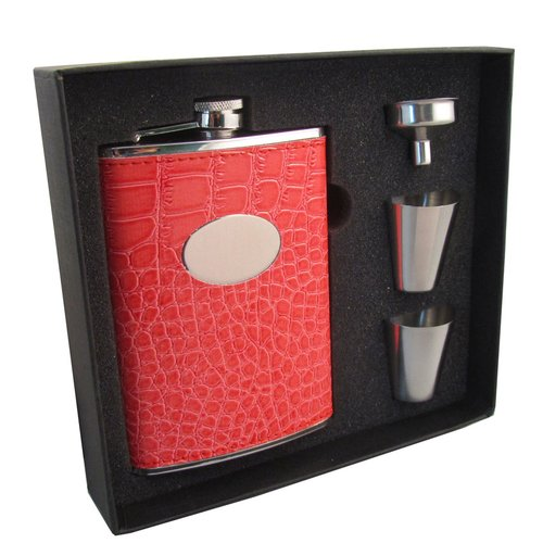 Visol Products Sweety Leatherette Stainless Steel Hip Flask Gift Set