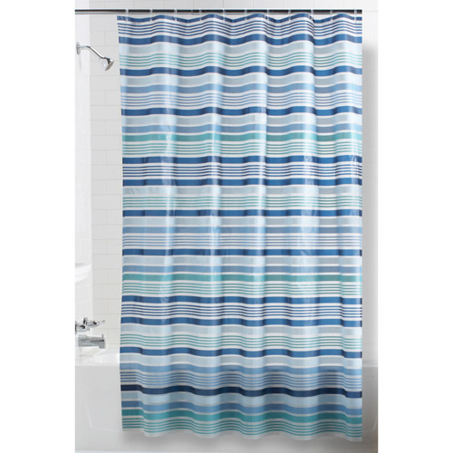 Mainstays Blue Stripe PEVA Shower Curtain