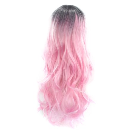 Women Fashion Hairstyle Gradient Color Black to Pink Wave Curls Long Curly Hair Wig Wavy Synthetic Hair Cosplay Party Wigs with Hair Net](Pink Ladies Hairstyle)