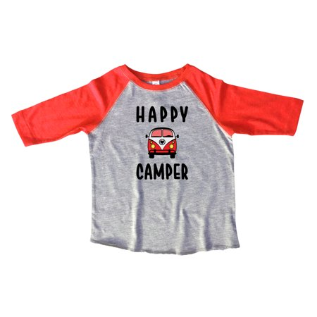 "Girls Or Boys Camper Raglan 3/4 Sleeves ""Happy Camper"" Vacation Toddler & Youth Baseball Tee X-Large, Red"