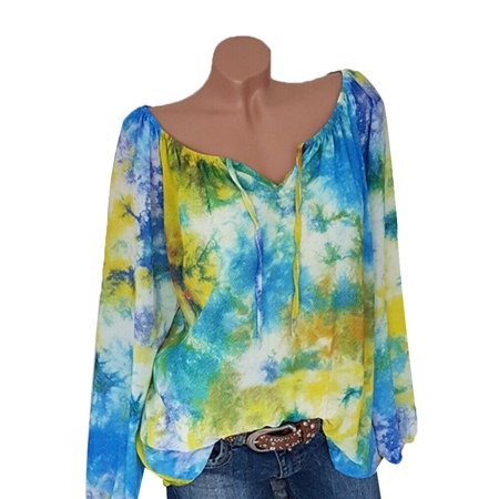 Plus Size Womens Summer T-shirts Retro Floral Printed Casual Off Shoulder V-neck Tunic Blouse Beach - V-neck Floral Print Shirt