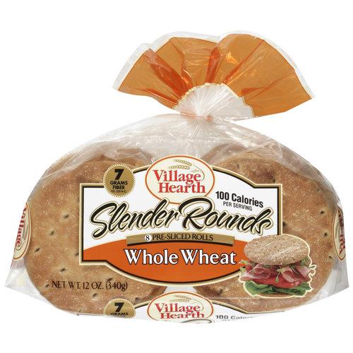 Village Hearth Whole Wheat Pre-Sliced Rolls, 12 oz, 8ct