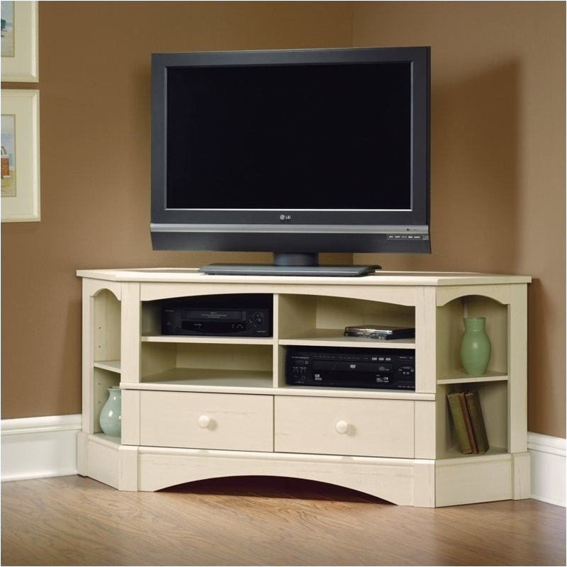 Pemberly Row Corner Entertainment Credenza in Antiqued White by Pemberly Row
