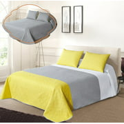 All American Collection Tri-Color Reversible Twin/ Twin XL Oversized Bedspread and Pillow Sham Set | Mix and Match for New Looks!