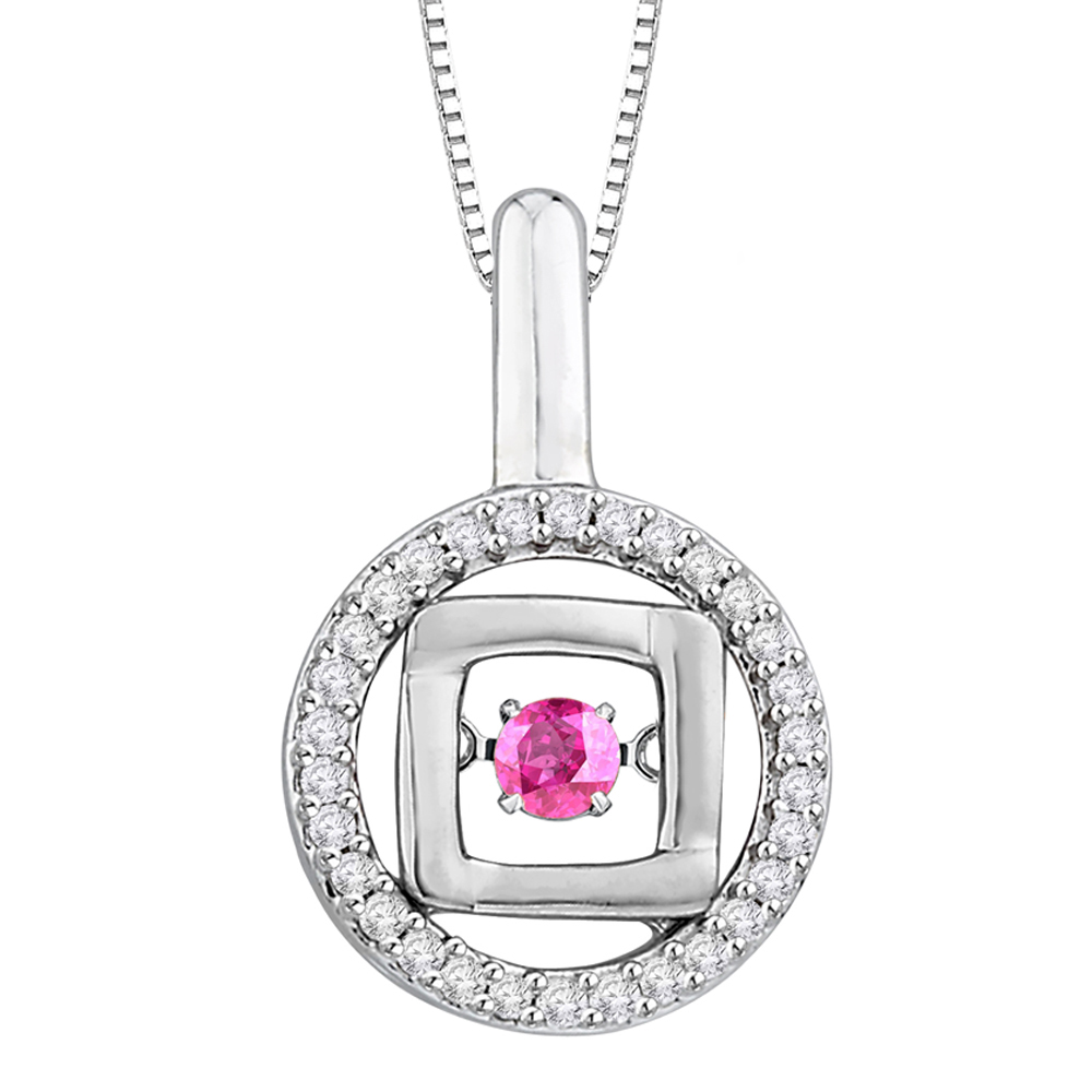 Diamond and Pink Sapphire Dancing Stone Fashion Pendant with Chain in 14K White Gold (1 2 cttw) by Katarina
