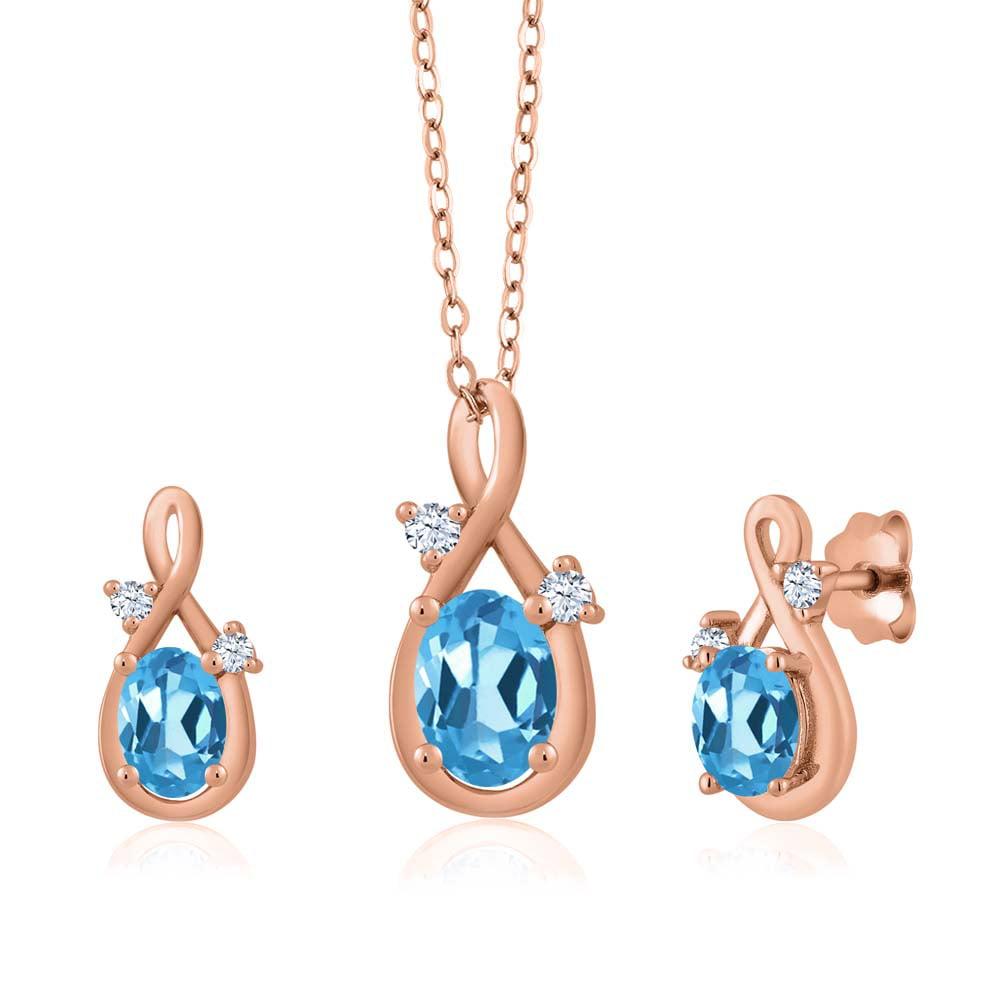 1.89 Ct Oval Swiss Blue Topaz 18K Rose Gold Pendant Earrings Set by