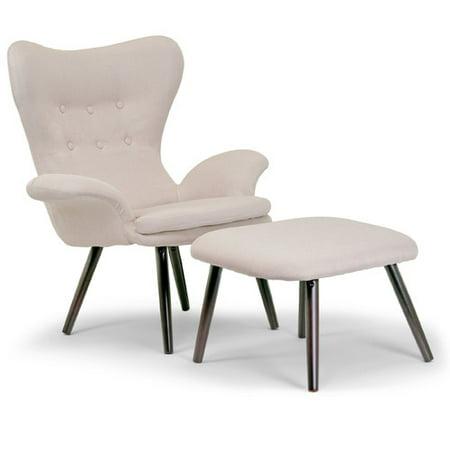 Akari Beige Fabric Accent Chair Ottoman Set Scandinavian
