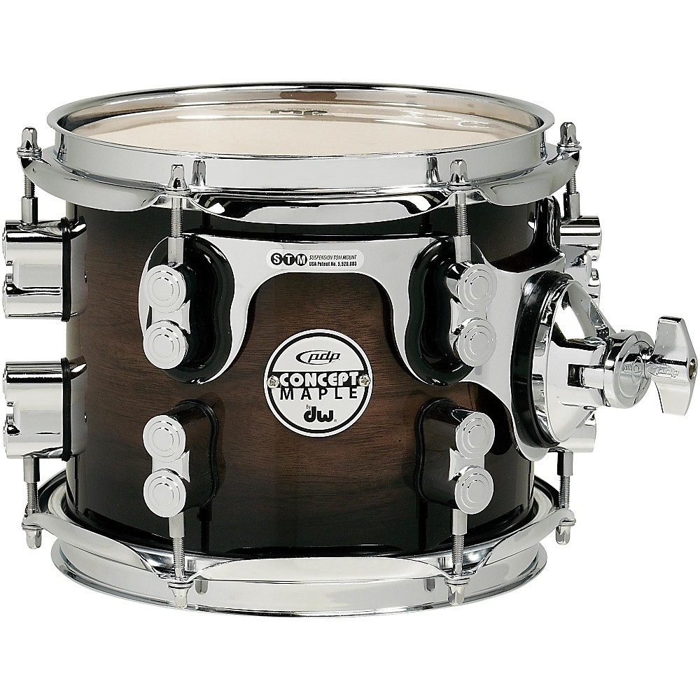 PDP Concept Exotic Series Walnut to Charcoal Burst, Suspended Tom 8 x 7 in.