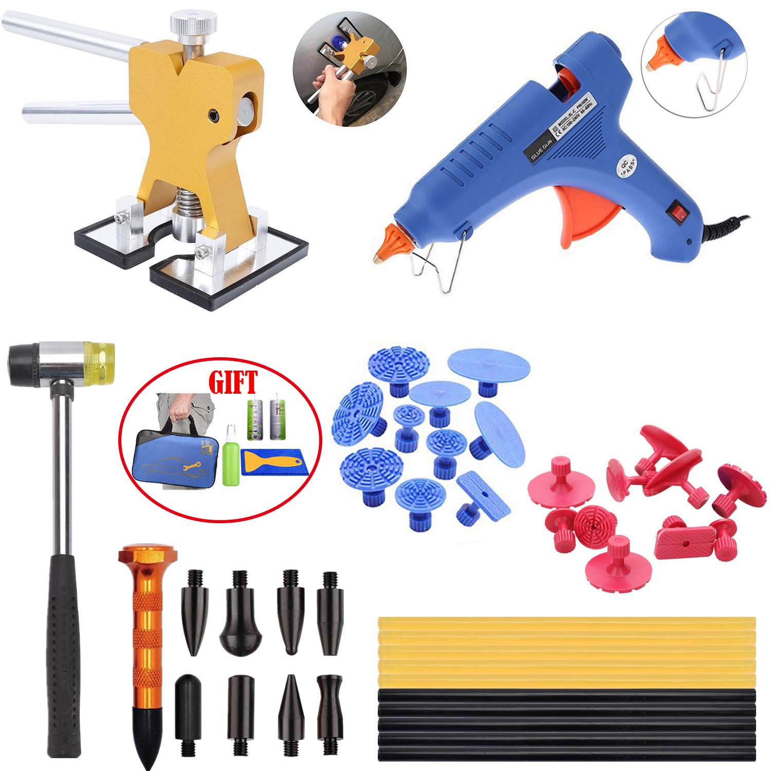 Paintless Dent Repair Tool Dent Puller Kit Pops a Dent Car Dent Removal Kit Golden Lifter Glue Gun for Automobile Body Motorcycle Refrigerator Washer