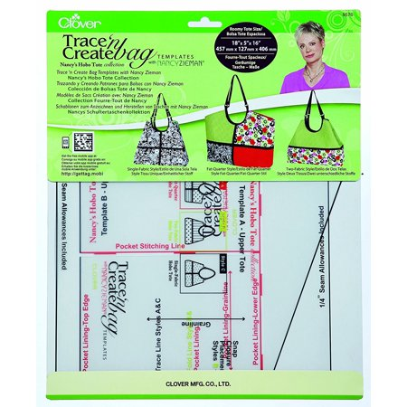 Nancy's Hobo Tote Collection 9576 Trace 'n Create Bag Template, Roomy tote size 18 x 5 x16 By Clover