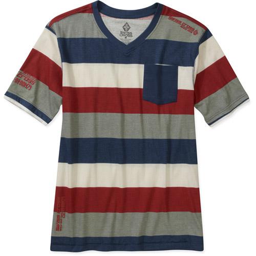 Men's Short Sleeve Yarn Dye One Pocket Stripe V-neck
