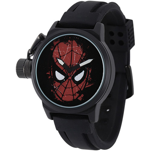 Marvel Spider-Man Men's Crown Protector Watch, Black Rubber Strap