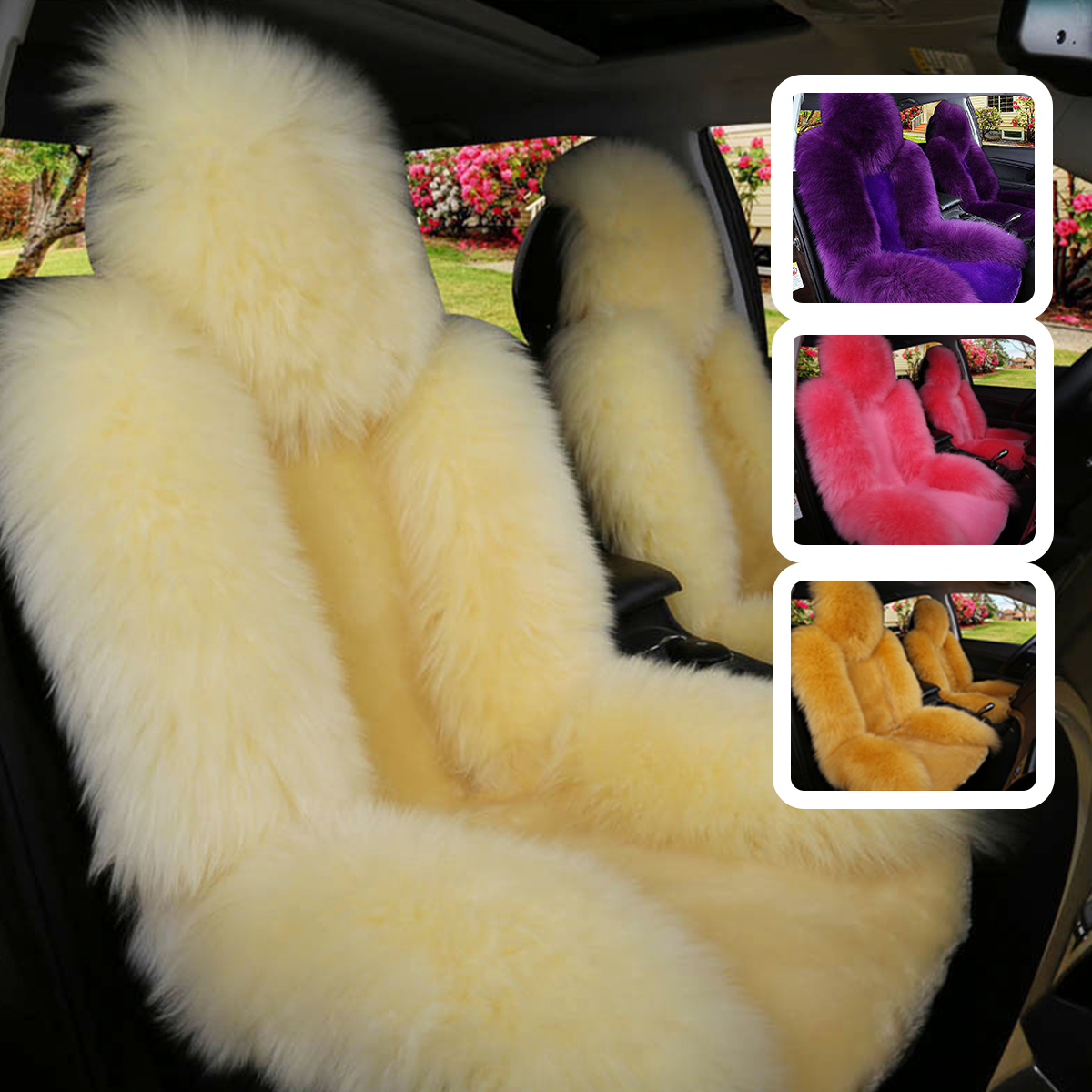 Universal 5 Seats Auto Car Seat Cover Wool Warm Sheepskin Fur Front Seat Cushion Covers