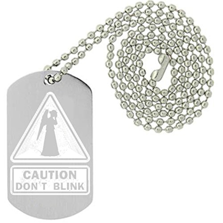 Caution Don't Blink Weeping Angel Statue Show - Military Dog Tag, Luggage Tag Metal Chain Necklace