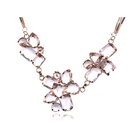 Triple Strand Leather - Gold Tone Triple Strand Ice Cube Chunky Iceberg Faceted Crystal Gem Necklace
